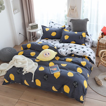 Grey quilt cover with lemon bedclothes 3/4pcs bed linen set duvet cover set flat bed sheet pillowcase(China)