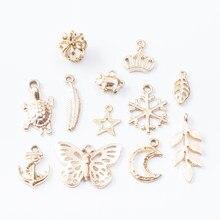 Misturado ouro uv liga de zinco misturado gota de óleo pingente diy moda pulseira jóias acessórios 7109-7119