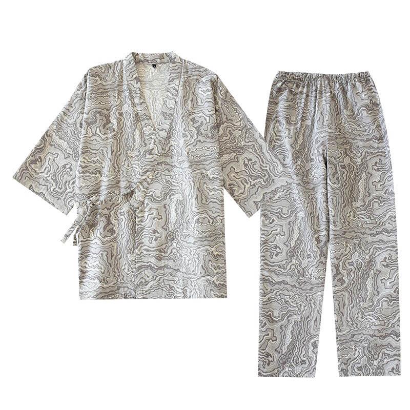 2020 Spring And Summer Men Japanese Style Pajamas Set Men's Gauze Cotton Kimono Style Sleepwear Loose Thin Homewear Casual Wear