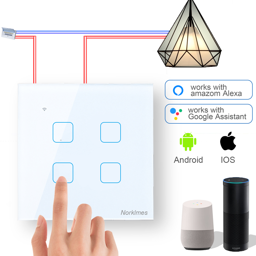 1 2 3 4 gang Smart wall switch glass for remote control, programmable, can be used with alexa and Google home for voice control