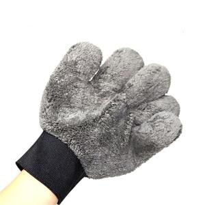 Image 5 - 2021 חדש 1pcs מיקרופייבר Paw בצורת כפפת כפול צד חמש אצבע עבה בד עמיד רכב כביסה אבזר שחור אפור
