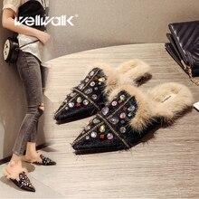 Rhinestone Fur Slippers Unicorn Women Flat Mules Shoes Multi Color Crystal Decoration Ladies Winter Fashion Dress Furry Slides