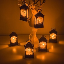 2019 Halloween Vintage Pumpkin Castle LED Painted Light Hanging Wind Portable Lantern Party Supplies