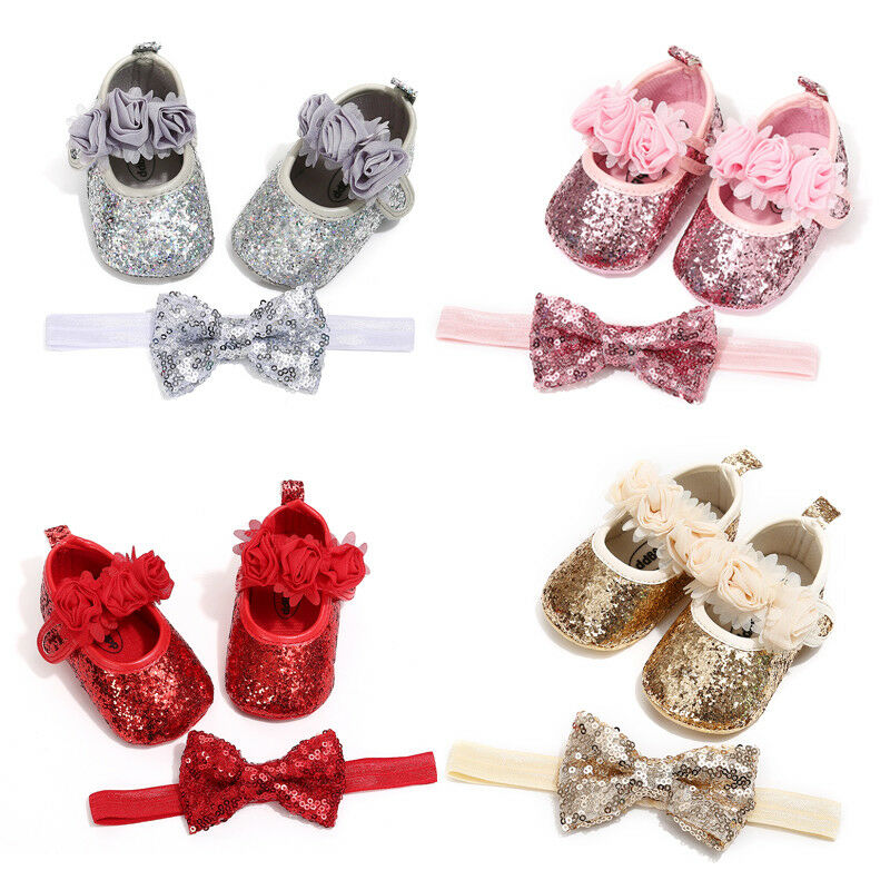 0-18M Infant Newborn Baby Girls Crib Shoes Headband Princess Bling Sparkle Sequins PU 3D Flower Rose Baby Shoes