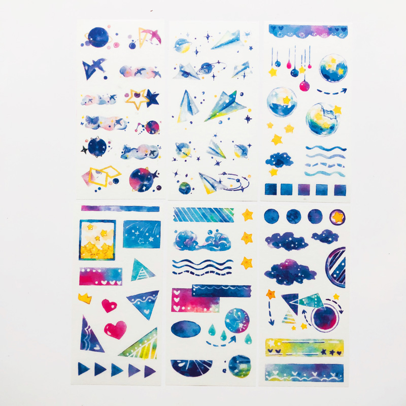 6 Sheets/Pack Blue Style Star Oceans Paper Stickers Decorative Album Diary Hand Account Decor