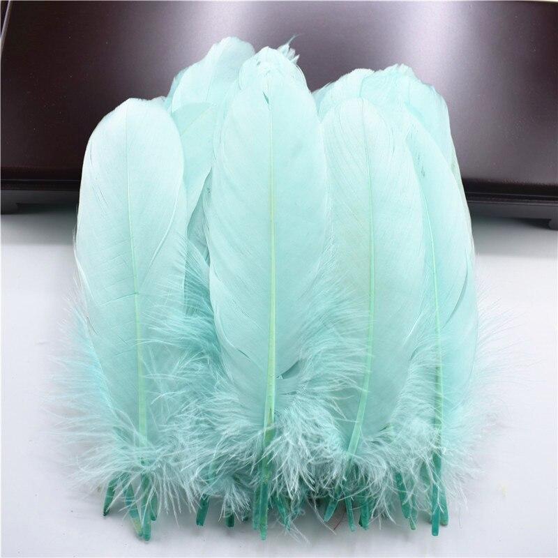 Жесткий полюс, натуральные гусиные перья для рукоделия, 5-7 дюймов/13-18 см, самодельные ювелирные изделия, перо, свадебное украшение для дома - Цвет: Mint Green
