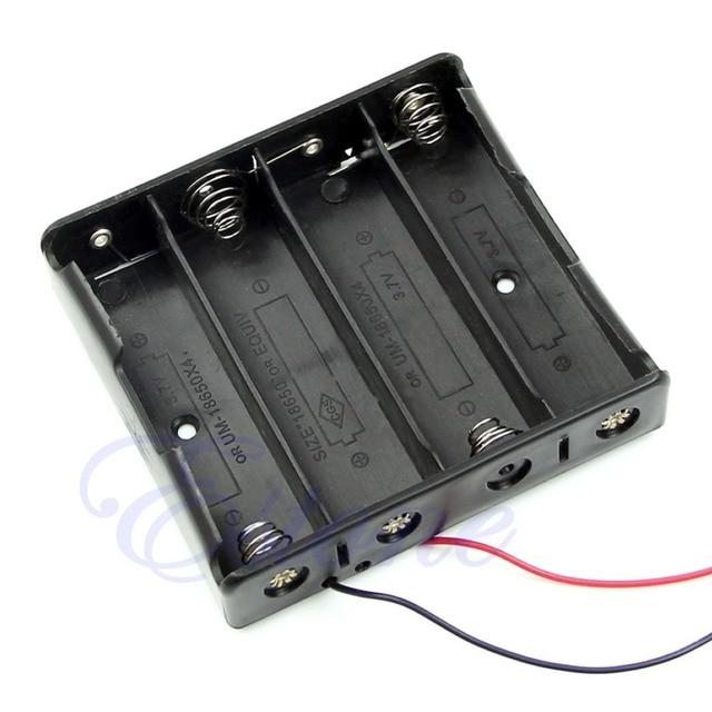 """1 шт. новый пластиковый ящик для хранения, черный чехол для 4 шт. аккумуляторов 18650 с 6 """"проводами 4x18650"""