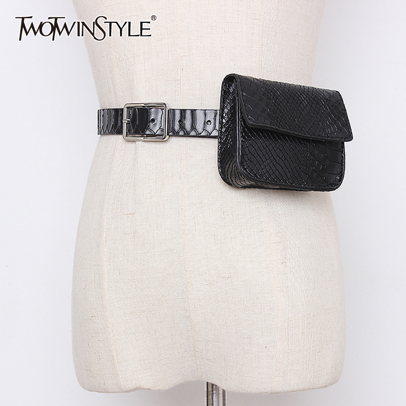 TWOTWINSTYLE Vintage Synthetic PU Leather Belts For Female Casual Patchwork Bag Tunic Women's Belt Fashion Autumn 2019 Tide