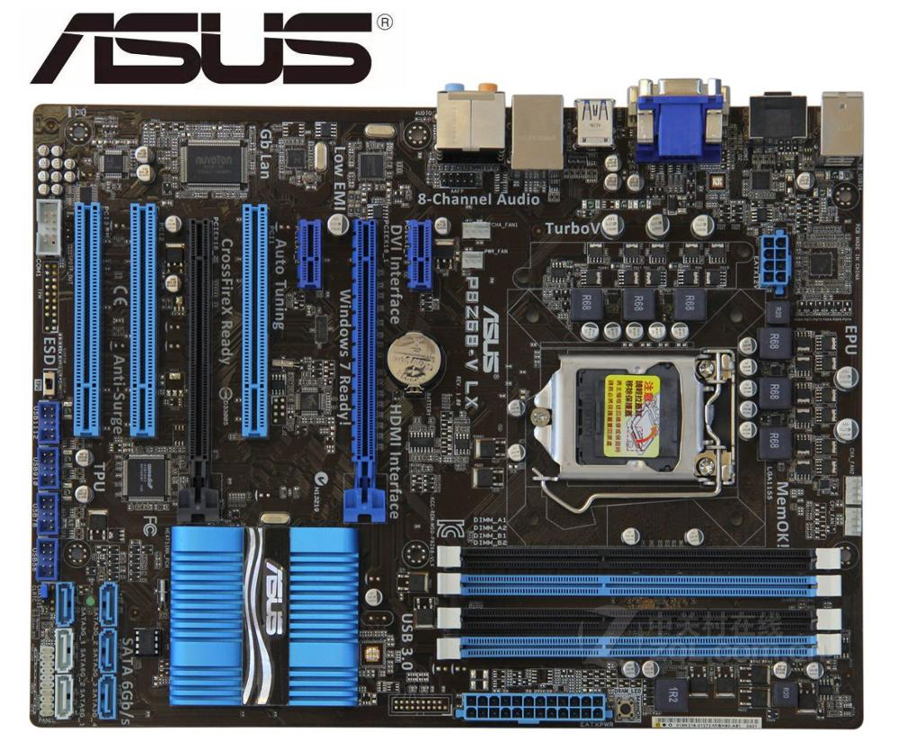 ASUS P8Z68-V LX Boards Original Mainboard DDR3 For Intel LGA 1155 Support I3 I5 I7 32GB Z68 Used Desktop Motherborad