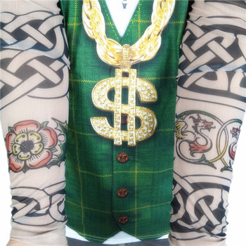 Hip Hop Gold Chains | Funny Clover Printed St Patrick's Day T Shirt For Men Cute Men's Long Sleeve Gold Chain Tatoo Print St Paddy's Day T Shirts