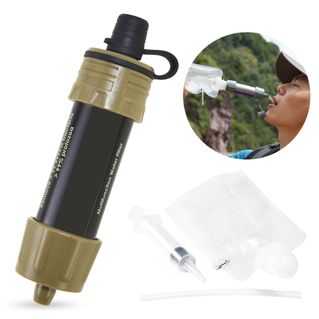 Outdoor Water Filter Straw Water Purifier System with 5000 Liters Filtration Capacity for Camping Emergency Survival Tool