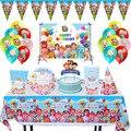 Cocomelon тема Семья вечерние скатерть бумажные стаканчики и тарелки соломки для дней рождения вечерние поставки детский игрушечный детский ду...