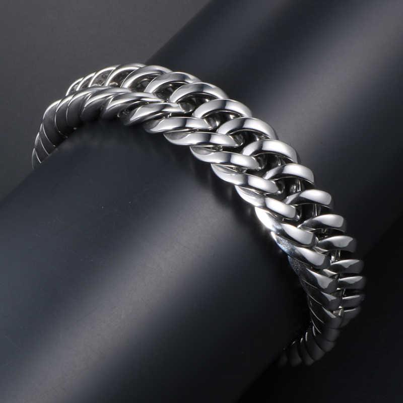 13MM szeroki polerowany bransoleta ze stali nierdzewnej 316L mężczyzn łańcuszek Link męskie bransoletki ciężki masywny nadgarstek biżuteria prezenty dla człowieka