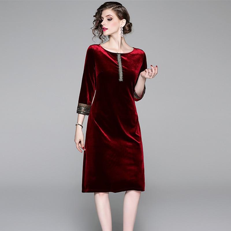 New Nail Pearl Sequins Loose Waist Velvet Dress Vestido Invierno Mujer 2019 Fall Midi Party Women Dress Lange Jurken K3596