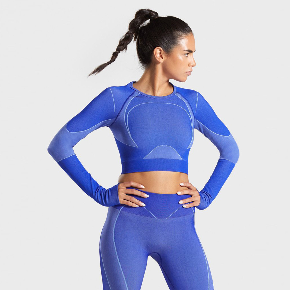 Women Seamless Love Yoga Set Yoga Tops Pants Fitness Clothing Sports Clothes GYM Cloth Long Sleeve Shirts 2pc Suits