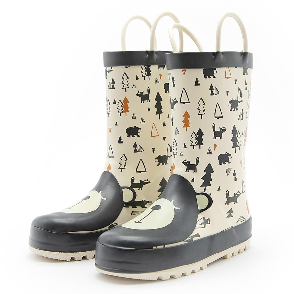 KushyShoo Kids Rain Boots Girls Waterproof Children Rubber Boots Cute 3D Cartoon Bear Toddler Boy Rainboots Non-slip Kids Shoes