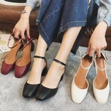Eooodoit primavera outono mary janes sapatos femininos retro dedo do pé quadrado bombas de couro med chunky saltos 5 cm tornozelo fivela