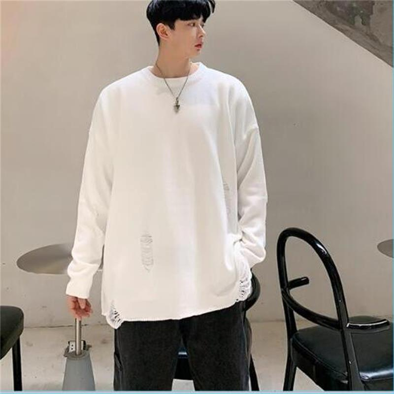 New Fashion Loose Mens Knit Pullover Hollow Out Solid Color Casual Streetwear Homme Sweaters