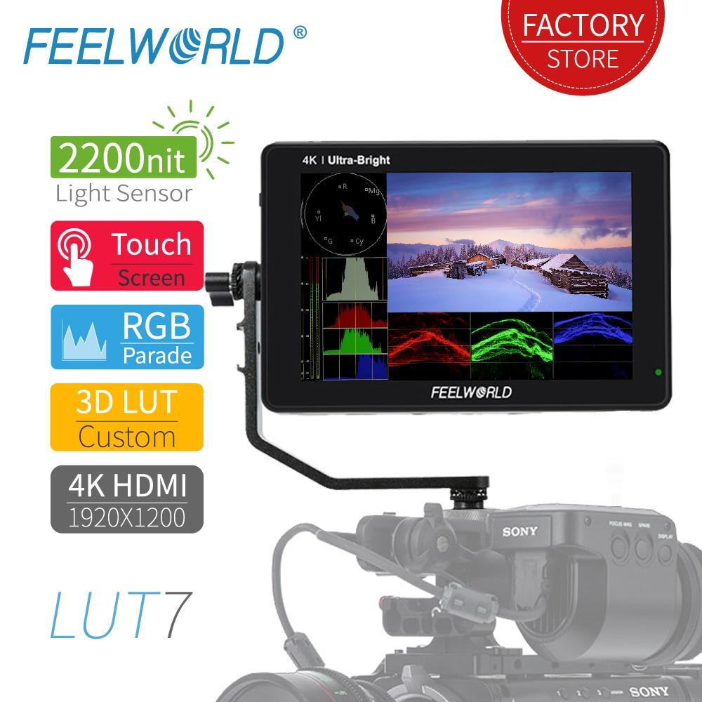 Feelworld lut7 tela sensível ao toque 2200cd/m 3d lut dslr monitor 4k hdmi 7 polegada hd completo 1920x1200 ips display monitor de campo para câmera
