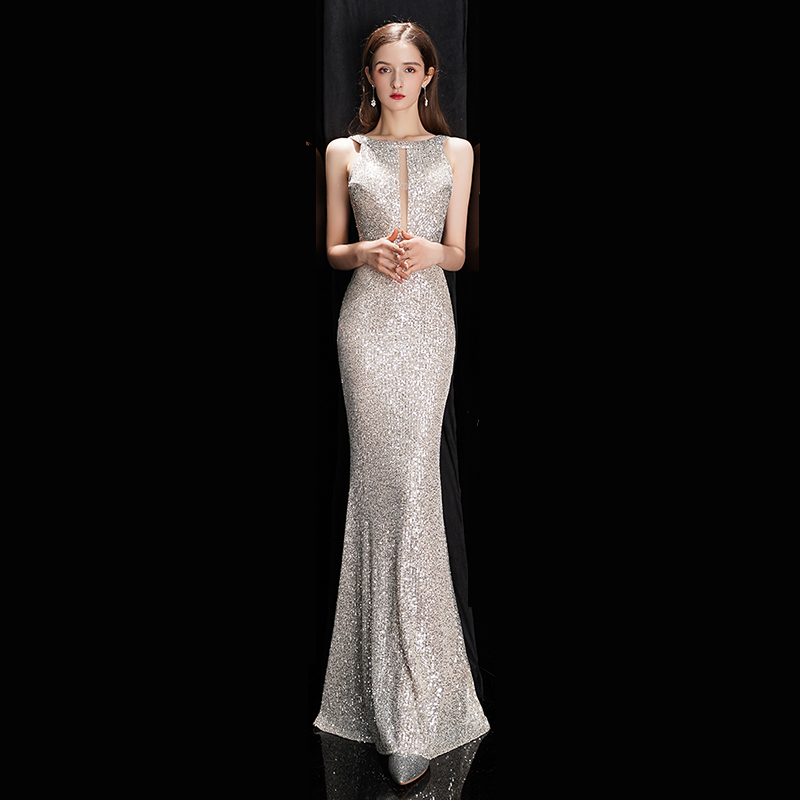 See-through Sexy Long Formal Party Dress Mermaid  Off-shoulder Silver Sequins Evening Dress