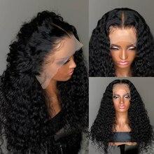 13x4 глубокая волна Синтетические волосы на кружеве парики из натуральных волос на кружевной 26 28 30 дюймов бразильские вьющиеся парики из нату...