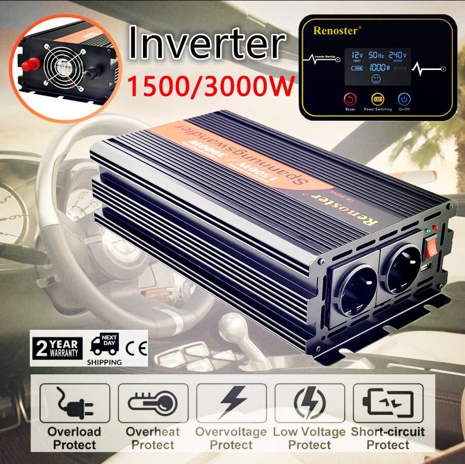 Renoste 1500W Pure Sine Wave Solar Power Inverter 12V 230V Solar Inverter With Remote Control Power Inverter Voltage Converter