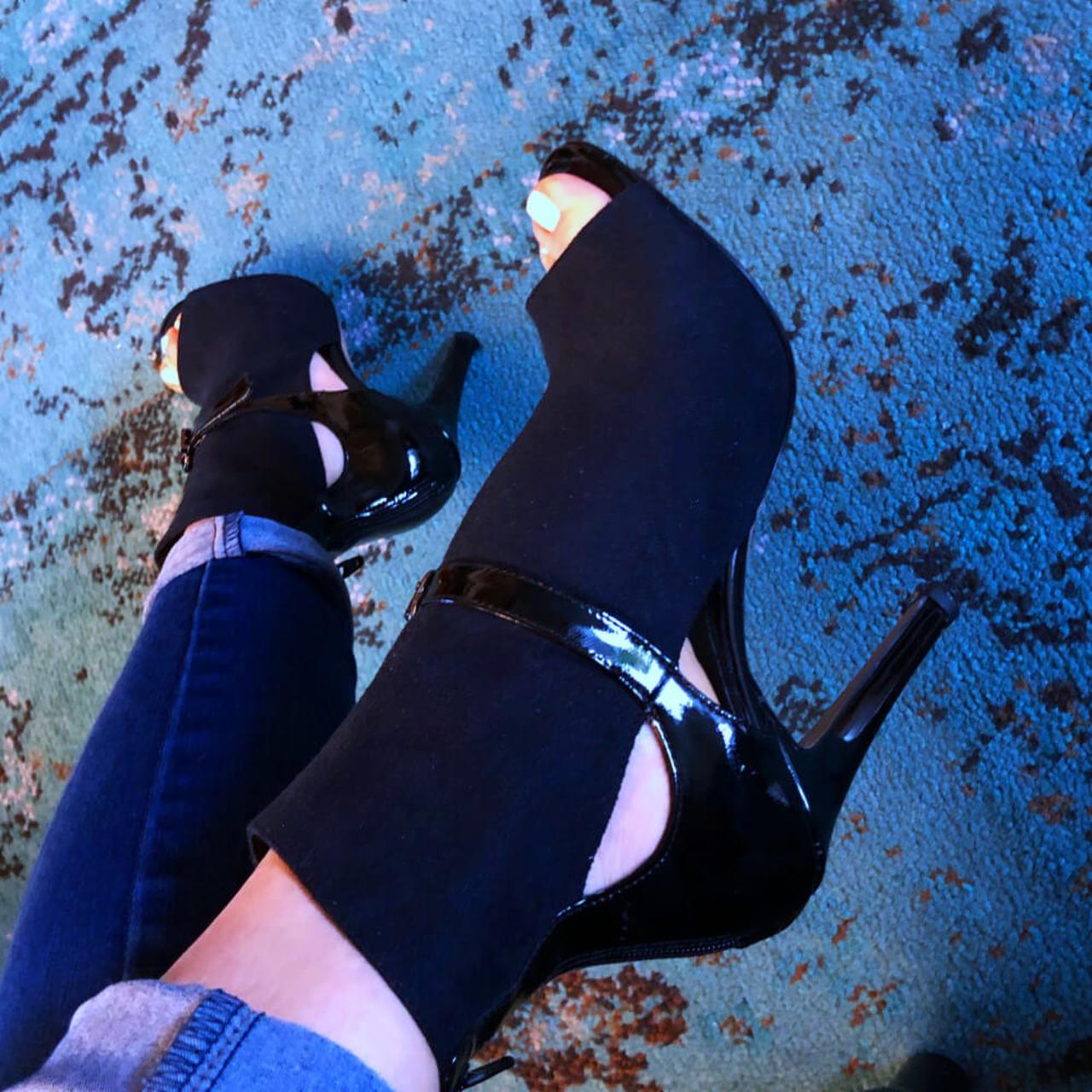 Elegant Jazz Salsa Ballroom Square Practice Latin Dance Shoes for Women Dancing Ladies High Heels Suede Boots Black