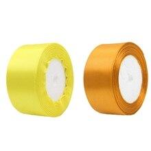 2 рулона 40 мм 22 м шелковая атласная лента для свадебной вечеринки, желтый и золотой