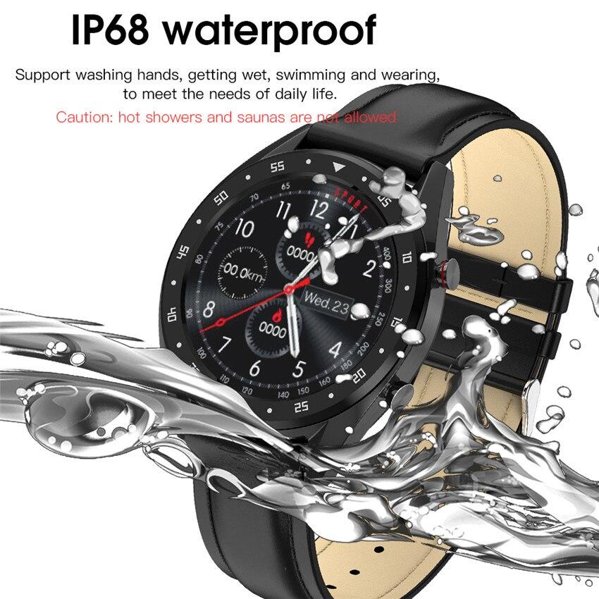 Luxus 300mAh Schwimmen Smart Band Uhr Männer Frauen HR Musik/BT Anruf Für IOS/Huawei/Xiao mi PK mi band 4/Fit Bits Mul Lang Leder Band - 2