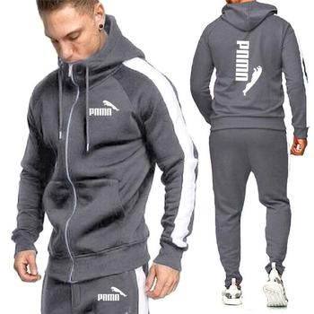 2020 New Brand Men Tracksuits Outwear Hoodies Zipper Sports suit Sets Male Sweatshirts Cardigan Men Set Clothes Pants plus size image