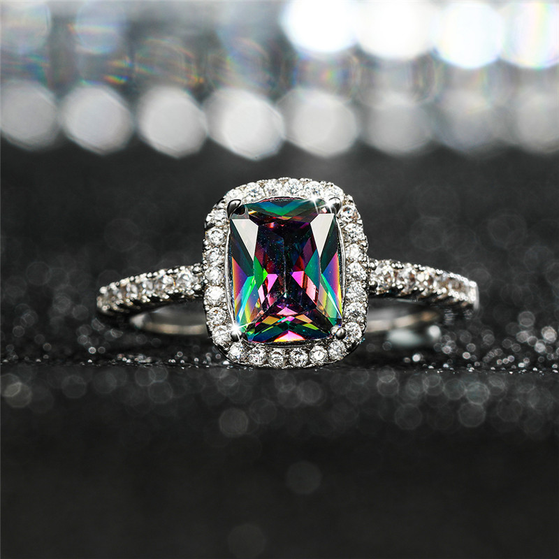925 Silver Filled Multi Sapphire Birthstone Engagement Wedding Band Ring Jewelry