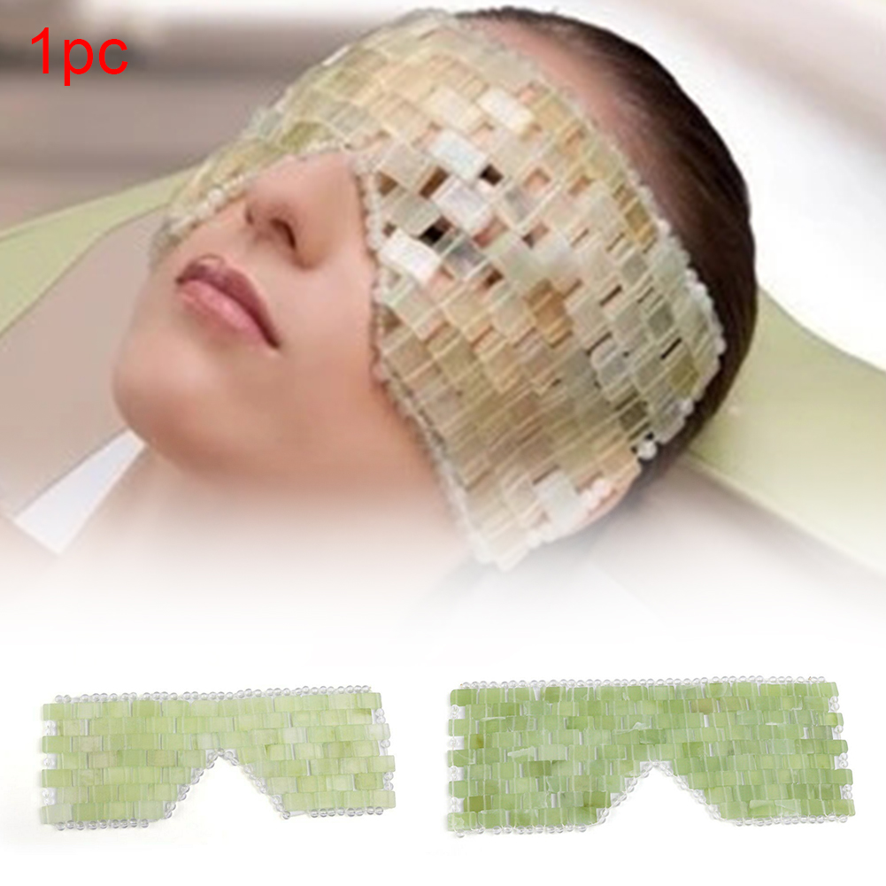 Jade Eye Mask Portable Exquisite Cooling Dark Circles Wrinkle Remove Eye Mask Sleeping Face Massage Health Care Home Office Gift