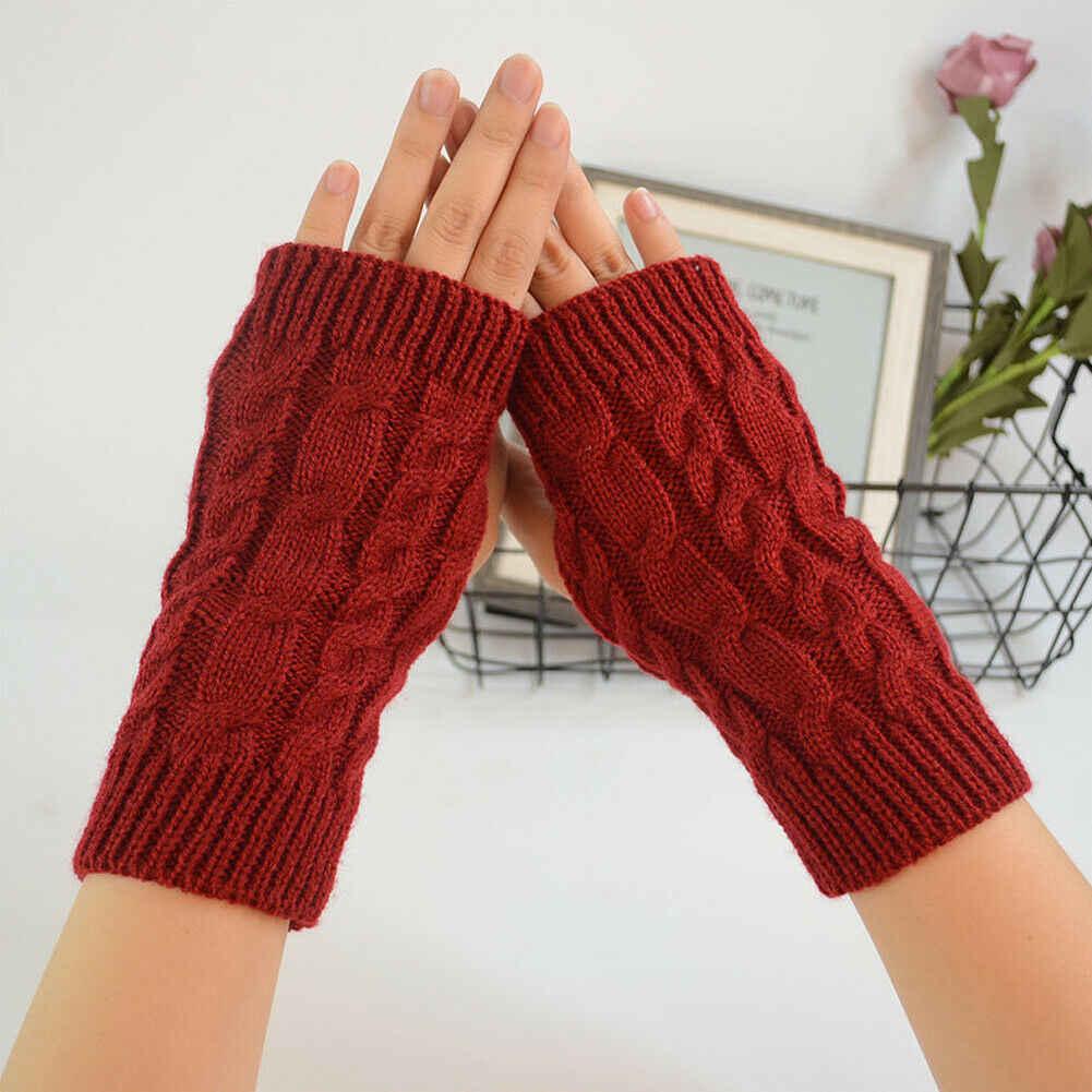 ใหม่แฟชั่นผู้หญิงสุภาพสตรียาว Fingerless ถุงมือฤดูหนาว Warm Soft Mittens สีดำสีแดงสีน้ำตาล