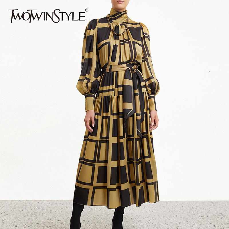 TWOTWINSTYLE Plaid Two Piece Sets For Women Turtleneck Lantern Sleeve Blouse High Waist Lace Up Skirts Female Suits 2019 Fashion