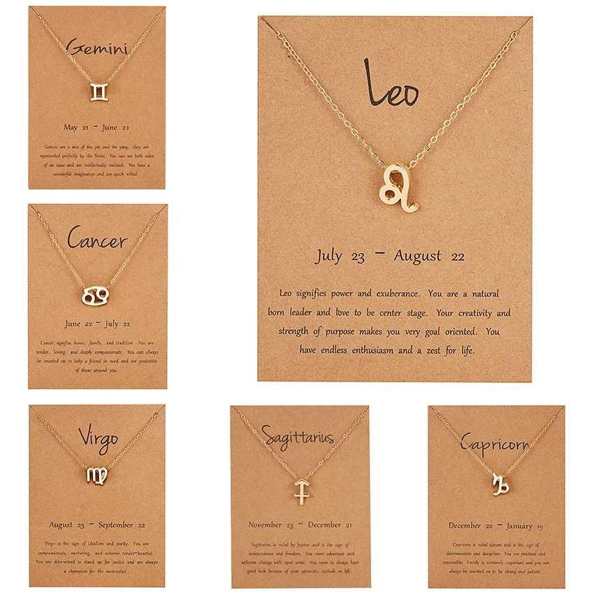 12 Constellation Pendant Necklace Zodiac Sign Necklace Birthday Gifts Message Card for Women Girl Hot Sale Jewelry New Arrivals