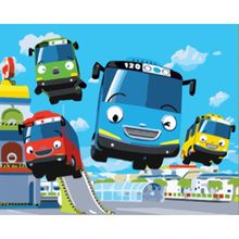 Oil-Painting Numbers-Car Handpainted Frame Picture-Kits Canvas Diy Coloring Home Cartoon