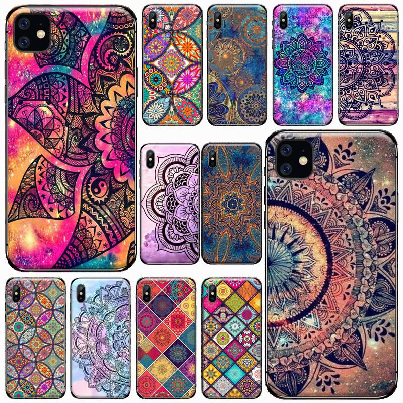 Mandala flower totem color pattern Phone Case For iphone 7 8 12 11 XR XS pro Max Mini plus Soft silicone cover shell funda