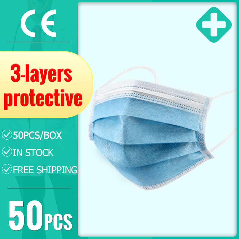50pcs Disposable Masks Face Mask 3-layer Protective Mask Non-woven Anti-dust Meltblown Cloth Mask  Anti-Dust Face Mask