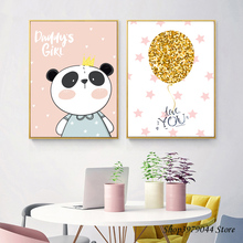Nursery Wall Art Canvas Painting Panda Kids Bedroom Decor Cartoon Nordic Poster Animal Decoration Pictures Unframed
