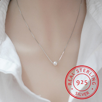 925 Sterling Silver Fine Jewelry Simple Hot Fashion 10mm Real Pearl Box Chain Necklace kolye collares bijoux femme S-N55 image