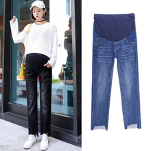 Buy Spring autumn pregnant women pants maternity jeans ripped denim Abdominal adjustable Pregnant women pencil long trousers L-6XL directly from merchant!