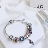 JC Fashion Charm 925 Sterling Silver DIY Bracelet Angel Wing Pendant, Male Female Bracelet Woman Accessories Jewelry Gift