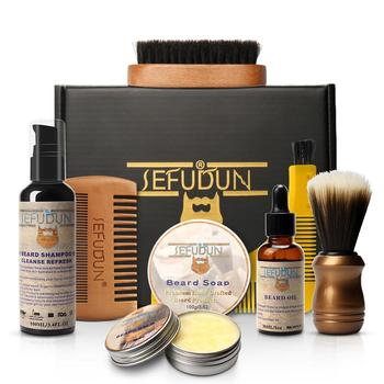 1 Set Men Beard Kit Styling Tool Beard Shampoo Balm Beard Oil Comb Moisturizing Beard Cream Styling Brush Beard Care Set 1