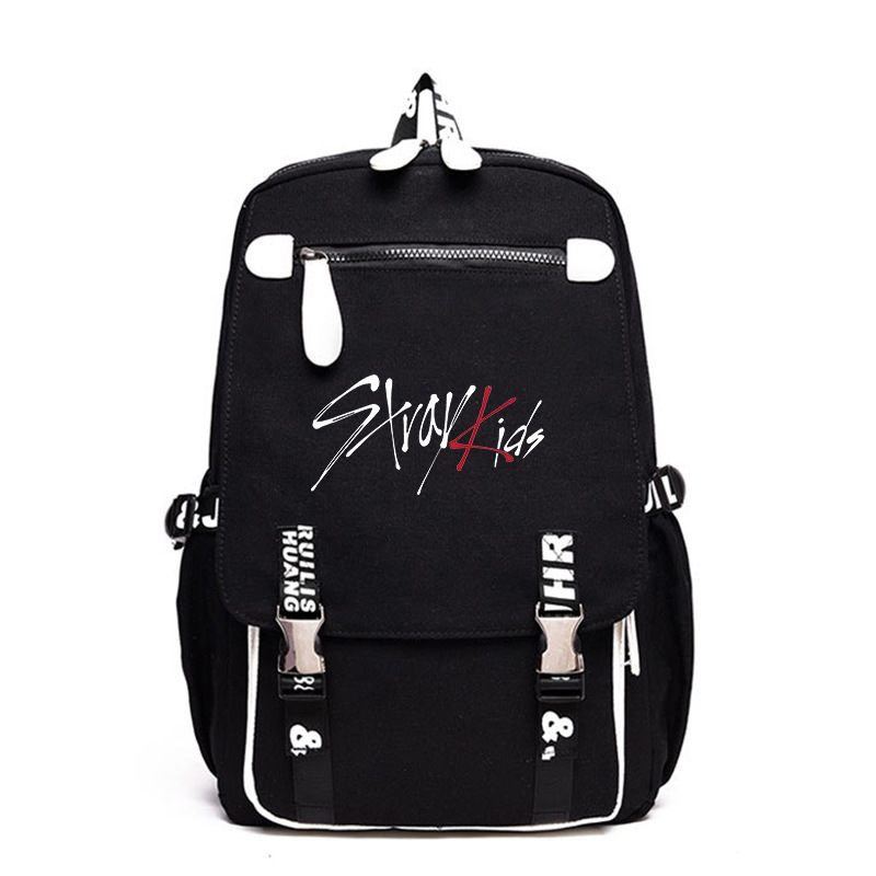 Kpop Stray Kids Black Backpack Outdoor Travel Bag schoolbag Leisure Fashion Kpop stray kids supplies Large capacity Canvas