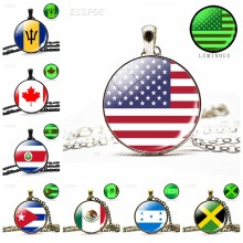 Glow in Dark National Flag Necklace North America Canada America Mexico Jamaica Costa Rica Flag Luminous Glass Cabochon Necklace(China)