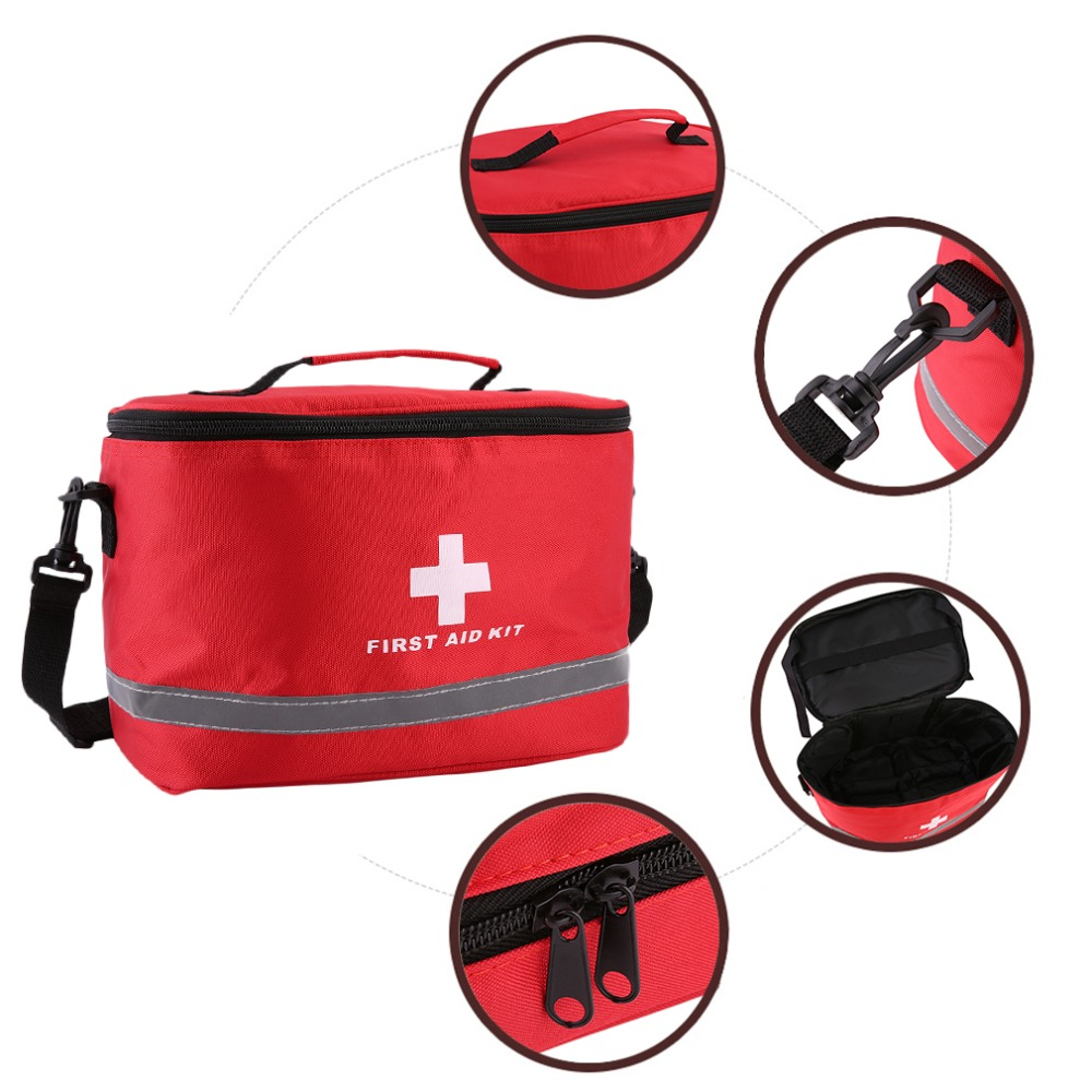 Red Nylon Striking Cross Symbol High-density Ripstop Sports Camping Home Medical Emergency Survival First Aid Kit Bag Outdoors