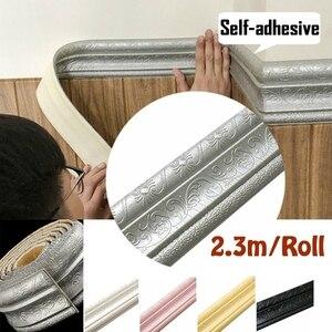 3d adesivos de parede 2.3 m/rolo 3d à prova d3d água rústico telha sala estar banheiro rodapé auto adesivo do vintage bordas