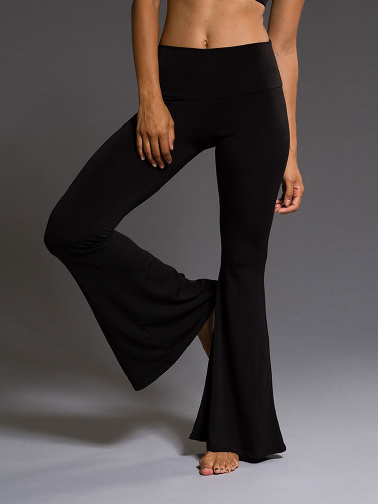 Solid Black Women High Waist Wide Leg Flare Pants