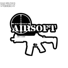 Volkrays Funny Car Sticker Airsoft Tactical Gun Moto Biker Accessories Reflective Waterproof Vinyl Decal Black/Silver,12cm*14cm(China)