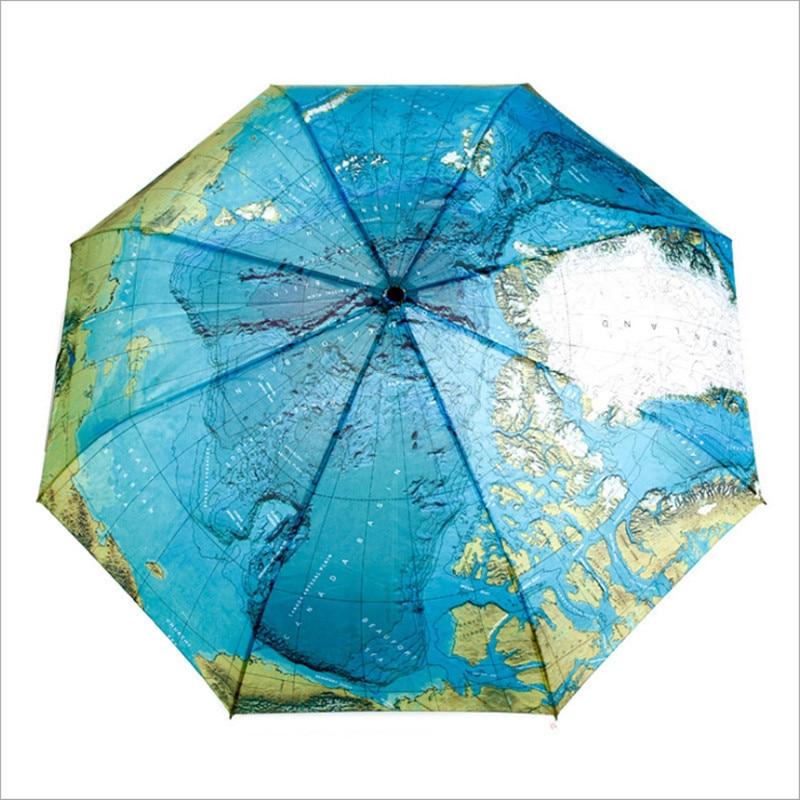 Automatic women's rain umbrella 8 Ribs world map printed umbrellas for female rain gear paraguas